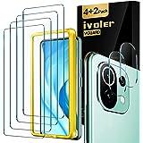 iVoler 4 stycken pansarglas skyddsfolie kompatibel med Xiaomi Mi 11 Lite 4G/5G/NE, med 2 stycken kamera pansarglasfilm och po
