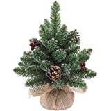 Black Box Künstlicher Mini Tannenbaum Derby Frosted im Jutesack, 30 cm, grün - Weihnachtsbaum klein - Christbaum - Kunsttanne