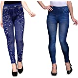 Enaa Fashion Women's Regular Fit Jeggings(Pack of 2) (EFJC-2-13-32_Multicolored_Free Size)