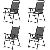 Balkonstuhl Küchenstuhl Faltbarer Stuhl Klappstuhl schwarz für Camping /& Garten