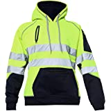 Hi Vis 3 Zips Hoodie High Visibility Reflective Tape Band Work Fleece Safety Hooded Top Phone & ID Pockets Pullover Hood Swea