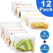 Set of 12 Reusable Storage Bags - Rezip Ziploc Freezer Bags (6 Reusable Sandwich Bags + 6 Reusable Snack Bags) BPA Free Extra