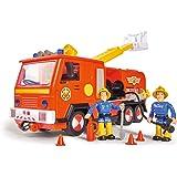 Simba 109251036 - Sam Jupiter Feuerwehrauto 2.0 / Mit Sam und Elvis Figur / mit Licht und Sound / Mit ausfahrbarer Leiter und Suchscheinwerfer / 28cm