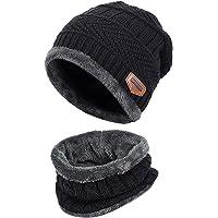 WELLQUA Cappello Uomo Invernale Berretto Uomo in Maglia con Sciarpa 2 Pezzi Cappello da Sci all'aperto e Set Sciarpa…
