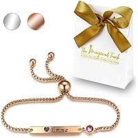 TMT Personalisiertes Geburtsstein Armband mit Gravur | Silber Rose-gold | mit namen für Frauen und Mädchen…