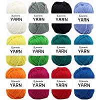 12X 50g Double Knitting Yarn 100% Acrylic Knitting Yarn Colourful DK Yarn with Crochet Hook & Stitch Markers - Perfect for Any Crochet and Knitting Mini Project