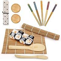 LinStyle Kit Sushi, 12 Pièces Sushi Maker Kit en Bambou, Comprend 2 Natte Bambou pour Sushi, 5 Baguettes, 1 Palette de…