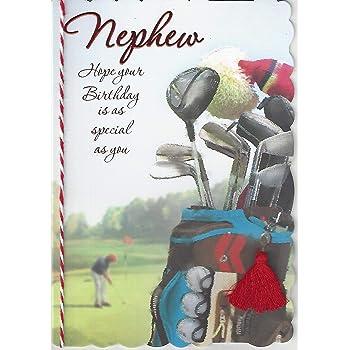 Nephew Happy Birthday Greeting Card Golf Clubs Golfer Design