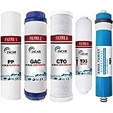 JACAR - Filtros de Osmosis inversa 5 etapas | Membrana Aquafamily | Universales - Nuevo Formato de filtracion Gold | Incluye