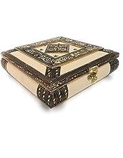 ROXA Decorative Empty Dry Fruit Box/Wooden Dry Fruit Box/Sweets Box/Oxidized Dry Fruit Box/Gift Box/Mukhwash Box, Sopari Box (4 Section Box, Cream)
