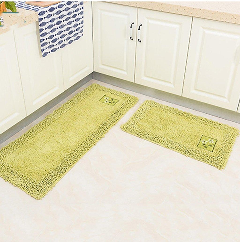 Tappeto Cucina Lungo in Cotone Antiscivolo e Impermeabile a Prova di Mano  stuoie (2 Pezzi) (Colore : Green, Dimensioni : 45cm*70cm+45cm*120cm) | ...