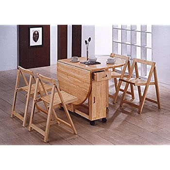 Folding Dining Set Drop Leaf Table And Chairs Butterfly Dining Table