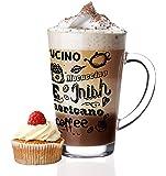 6 Latte Macchiato Gläser 300ml und 6 Edelstahl-Löffeln (gratis) Kaffee-Aufdruck