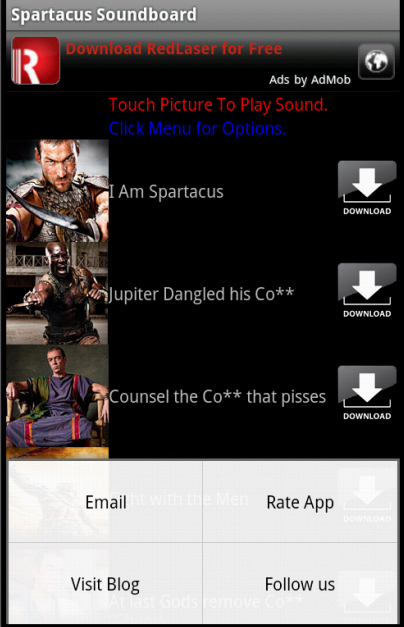 Spartacus Soundboard: Amazon co uk: Appstore for Android