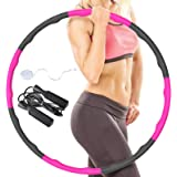 RIRGI Hula Hoop, Weighted Hula Hoops for Adults & Kids with Skipping Rope and Mini Tape Measure, 8 Sections Detachable Hula-H