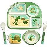 مجموعة اطباق طعام للاطفال - مجموعة اطباق طعام بتصميم ديناصور لفطام الاطفال من خشب الخيزران، ليتعلم الطفل ان ياكل بنفسه