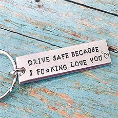 Weiy Kreative Buchstaben Tag Schlüsselanhänger Drive Safe Keychain Mode Schöne Edelstahl Autoschlüssel Handtasche Tasche Anhänger Schlüsselanhänger Väter Tag Geschenk Männer Geschenk Trucker Ehemann Geschenk