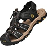 Lvptsh Sandali Sportivi Uomo Sandali de Passeggio Estivi All'aperto Escursionismo Trekking Sandals Pelle Casual Traspirante S