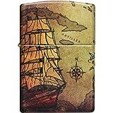 Zippo Pirate Ship 60005661 - Mechero de Gasolina Recargable, en Caja de Regalo, Color Blanco Mate, Normal