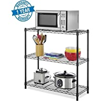 Callas Height Adjustable Shelf Rack Leveling Feet Chromium Steel Layer Shelf Organizer for Kitchen, Garage and Office (3-Shelf, Black)