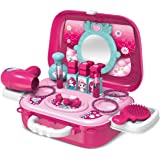 Quick Buy™ Pretend Play Cosmetic and Makeup Toy for Girls Beauty Kit with Foldable Trolly Bag for Girls & Kids | Beauty…