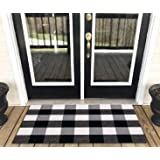 TEALP Cotton Buffalo Plaid Doormat Area Rug for Layered Door Home Office Kitchen Porch Farmhouse 45 * 70cm, Black and White