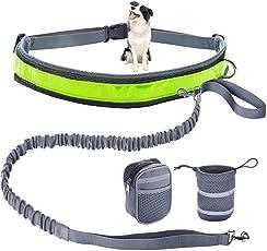 NONZERS Joggingleine Hundeleine,Reflektierendem Verstellbarem Hüftgurt,125-210 cm Elastische Hundeleine Leine für Laufen Joggen Wandern und Radfahren,zusätzliche 1 Futterbeutel und 1 Reisenäpf