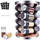 MUOIVG Présentoir à Épices -Avec 16 Pots Verre - Caroussel épices,Rotatif 360°,epices pots rangement ,Étagère à Épices Pour C