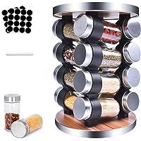MUOIVG Présentoir à Épices -Avec 16 Pots Verre - Caroussel épices,Rotatif 360°,epices pots rangement ,Étagère à Épices…