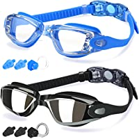 COOLOO Swimming Goggles, Pack of 2, Swim Goggles for Adult Men Women Youth Kids Children, with Anti-Fog, Waterproof…
