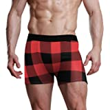 NaiiaN Rustic Black Red Buffalo Check Plaid Mens Briefs Stretch Boxer Trunk Bulge Pouch