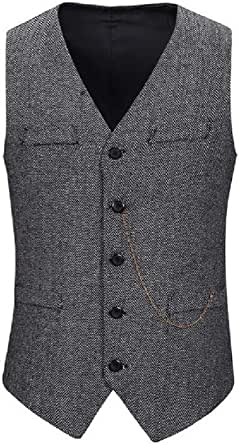 GRMO Men Business Single-Breasted Sleeveless Slim Fit Suit Vests Waistcoat