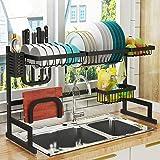 رف تجفيف الاطباق من خلال الحوض (24 بوصة -40 بوصة) ورف المصرف لمستلزمات المطبخ قابل للتعديل لتخزين ادوات المطبخ وينظم الحوض من