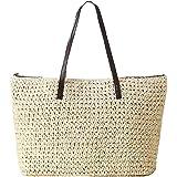 TININNA Frauen stilvolle einfache Sommer Strandtasche Handgemachte Strohtasche gewebte Reise Umhängetasche Stroh Schultertasc