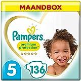 Pampers Maat 5 Premium Protection Luiers, 136 Stuks, MAANDBOX, onze Nummer 1 Luier voor Zachtheid en Bescherming van de Gevoe