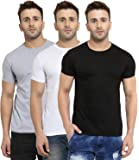 Scott International Men's Basic Cotton Round Neck Half Sleeve Solid T-Shirts -Pack of 3