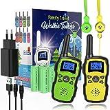 WisHouse Walkie Talkie Niños Recargable,Portátil Walkie-Talkie Largo Alcance con Cordones Bateria 2X3000mAh Cargador USB,Jugu