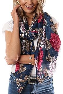 Damen Marineblau /& Rot Mohn-design Modischer Schal// Gewickelt