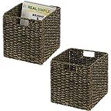 mDesign boîte de rangement en lot de 2 – panier tressé en algues naturelles – accessoire de rangement idéal pour l'organisati
