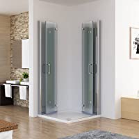 Duschkabine 80x80 Eckig Dusche Falttür 180º Duschwand Duschabtrennung NANO Glas 185cm DA
