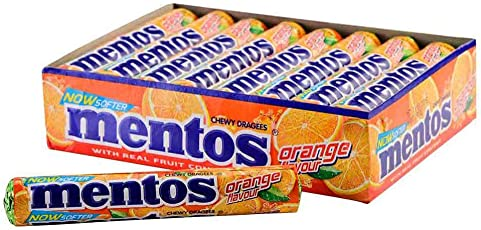 Mentos Chewy Dragee,Orange Flavour, 655.2g (Pack of 18 Sticks)