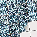 Fliesenfolie für - [ Boden Fliesen ] - Aufkleber Folie Sticker für Boden-Fliesen - Küche oder Bad | Fliesensticker als Alternative zu Fliesenlack | 10x10 cm - Design Hamam-Vibes