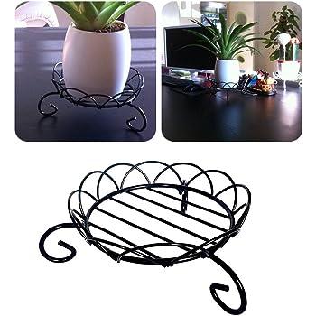 Support De Pot De Fleurs Pour Exterieur Pieds De Plantes D Interieur En Metal Pour Pot De Fleurs Fer Rack Supports 15 2 Cm Noir