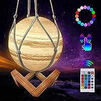Lampe de lune 3D, 16 couleurs LED moon lamp, Lampe planète Jupiter , Dimmable Veilleuse avec support en bois et filet…