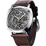 BENYAR - Reloj de Pulsera automático para Hombre | Pulsera de Cuero | Movimiento Dorado | Dial Esqueleto de 45 mm | Resistent