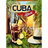 Nostalgic-Art Cuba Libre Placa Decorativa, Metal, Multicolor, 30 x 40 cm
