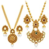 Sukkhi Splendid Pearl Gold Plated Wedding Jewellery Kundan Long Haram Necklace Set Combo For Women (388CB1400_D3)