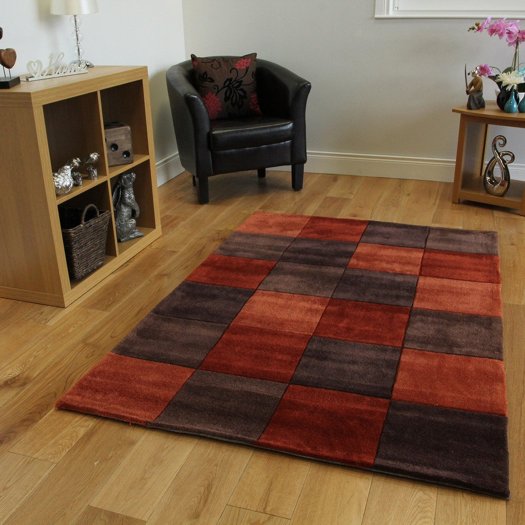 Warm Rust Orange Choco Brown Squared Designer Hardwearing Soft Living Room Rug 3 Sizes Banbury Amazoncouk Kitchen Home