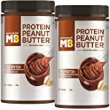 MuscleBlaze High Protein Peanut Butter, Creamy, Dark Chocolate, 750g Each (Pack of 2)