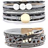 Wovanoo Leopard Bracelet Set Leather Wrap Bracelet for Women Multilayer Magnetic Clasp Bracelet